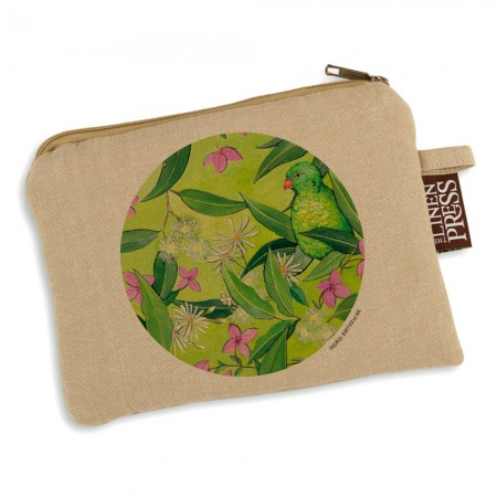 The Linen Press Organic Cotton Ingrid Bartkowiak Purse Large - Scaly Breasted Lorikeet