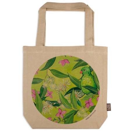The Linen Press Ingrid Bartkowiak Organic Cotton Tote Bag - Scaly Breasted Lorikeet