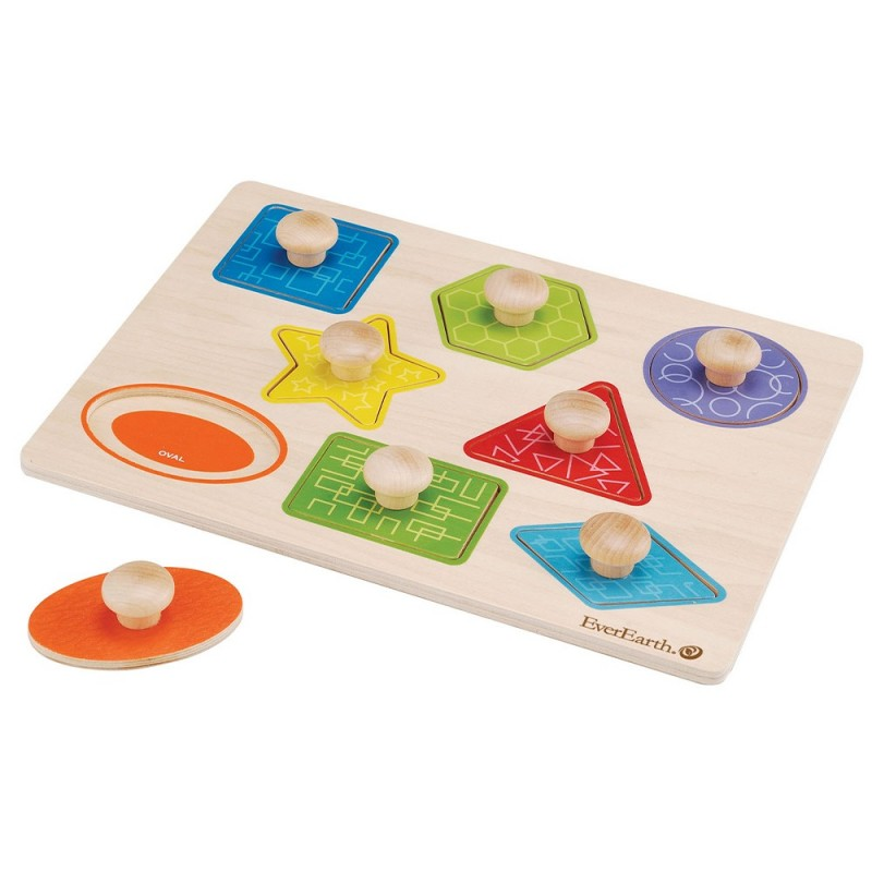 EverEarth Wooden Pull Out Shape Puzzle