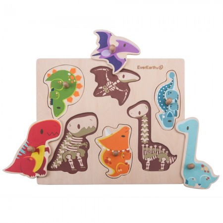 EverEarth Wooden Dinosaur Peg Puzzle