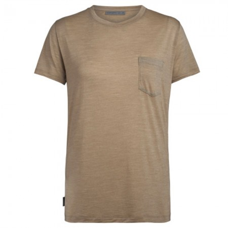 Icebreaker Merino Nature Dye Drayden Short Sleeve Pocket Crewe - Almond