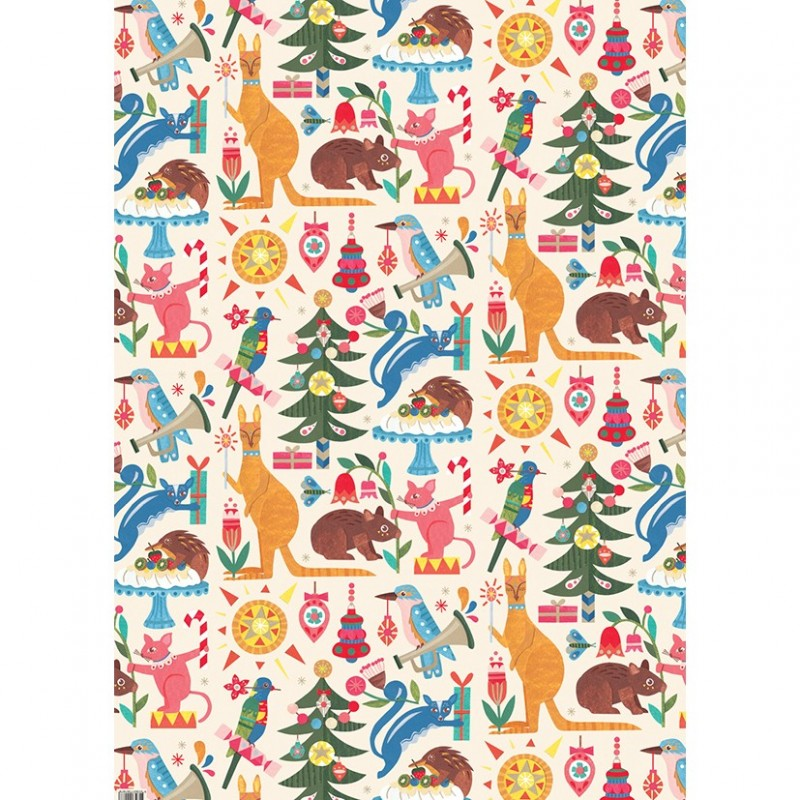 Earth Greetings Christmas Wrapping Paper - Festive Fauna