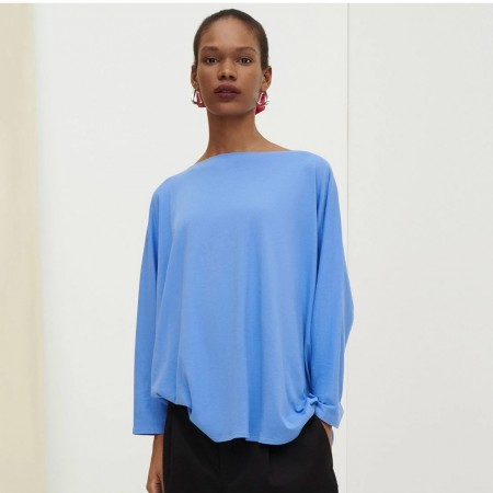 Kowtow Organic Cotton Relaxed Boat Neck Top - Periwinkle Blue