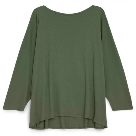 Kowtow Organic Cotton Relaxed Boat Neck Top - Dark Green