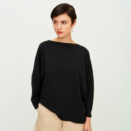 Kowtow Organic Cotton Relaxed Boat Neck Top - Black