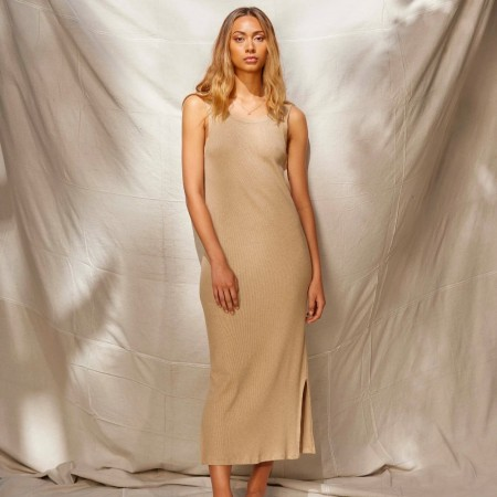 Lois Hazel Organic Cotton Rib Tank Dress - Beige