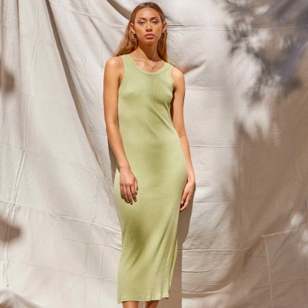 Lois Hazel Organic Cotton Rib Tank Dress - Pistachio