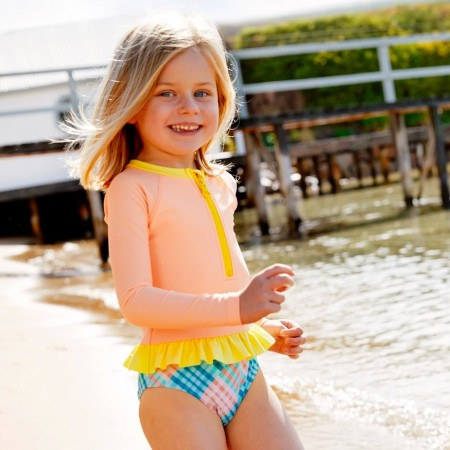 Salty Beasts Long Sleeve Onesie Swimsuit - Gingham A' Go-Go