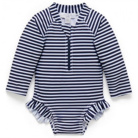 Purebaby Swim Long Sleeve Swimsuit - French Stripe