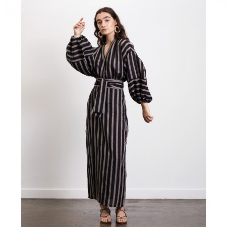 Dominique Healy Isabel Wrap Linen Dress - Stripe