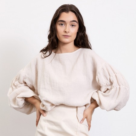 Dominique Healy Arabella Linen Blouse - Natural