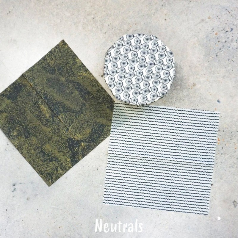 Queen B Beeswax Wrap Med Set of 3 - Neutrals