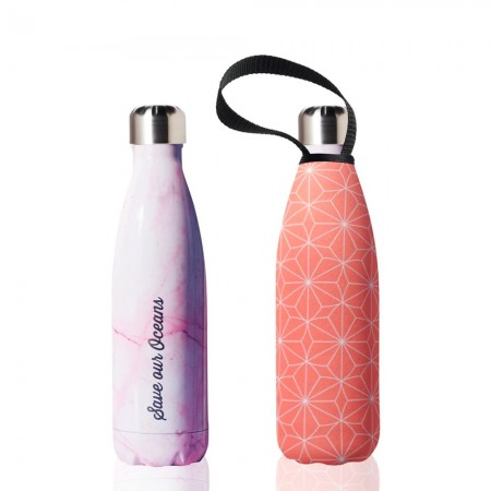 BBBYO Stainless Steel Water Bottle with Cover 500ml - Pink Star
