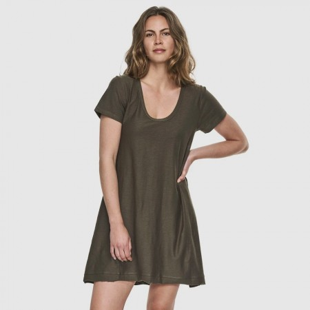 Cloth & Co. Organic Cotton Slub Scoop V Neck Dress - Olive