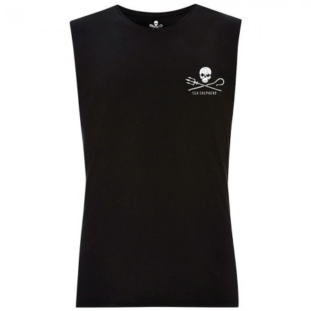 Sea Shepherd Jolly Roger Organic Cotton Unisex Muscle Tee - Black