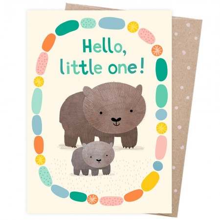 Earth Greetings Card - Hello Little One (Welcome Baby Wombat)
