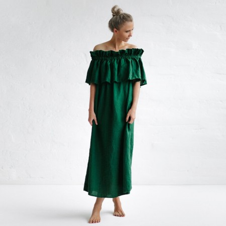 Seaside Tones Off Shoulder Dress - Green