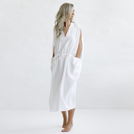 Seaside Tones Drawstring Waist Dress - White