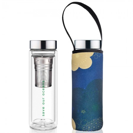 BBBYO Glass Tea Flask with Carry Cover 500ml - ChaCha