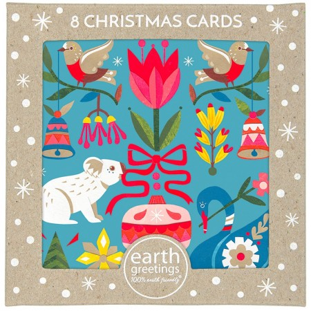 Earth Greetings Boxed Christmas Card 8pk - All The Trimmings