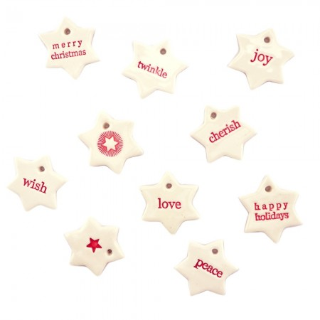 Paper Boat Press Ceramic Christmas Decoration - Little Stars Mixed