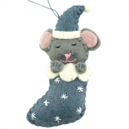 Fairtrade Felt Christmas Decoration - Mouse in Stocking (Blue)