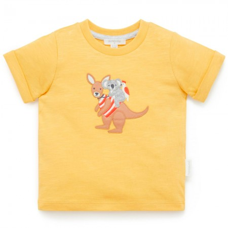 Purebaby Organic Cotton Round Ribbed Neck Tee- Best Mates