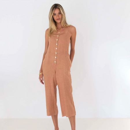 Humidity Jo Jo Linen Jumpsuit - Spice