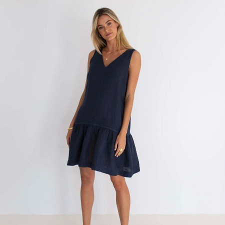 Humidity Ruby Linen Dress - Navy