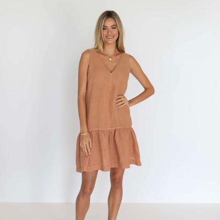 Humidity Ruby Linen Dress - Spice