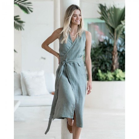 Humidity The Wrap Dress - Khaki