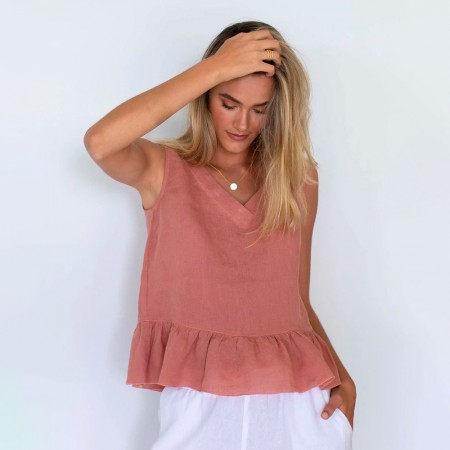 Humidity Olivia Linen Top - Rose Clay