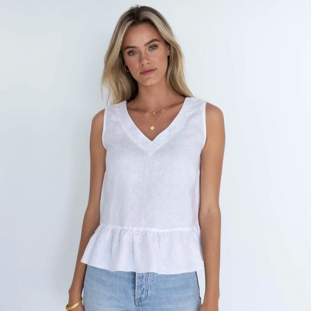 Humidity Olivia Linen Top - White