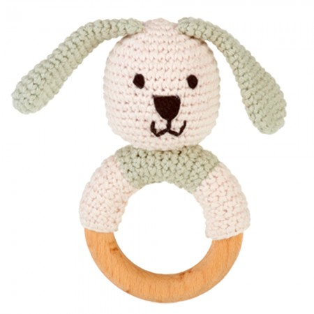 Pebble Wooden Ring Rattle - Bunny Teal