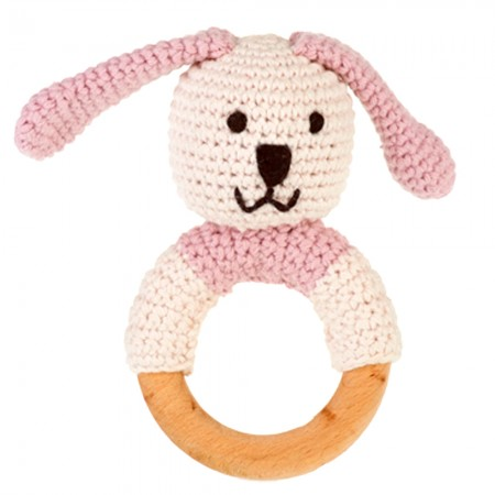 Pebble Wooden Ring Rattle - Bunny Pink