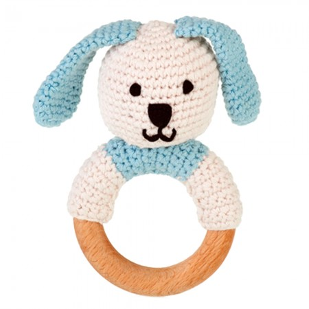 Pebble Wooden Ring Rattle - Bunny Blue