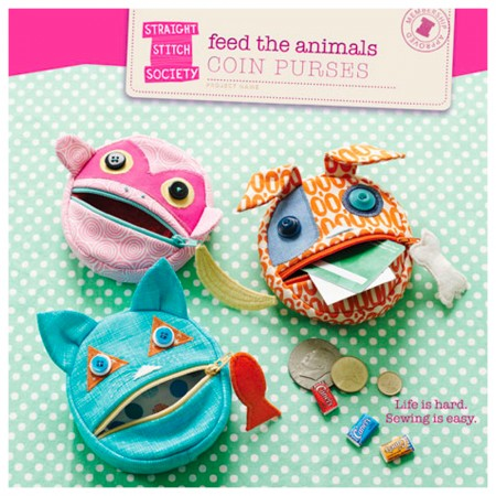 Straight Stitch Society Sewing Pattern - Feed the Animals Coin Purse