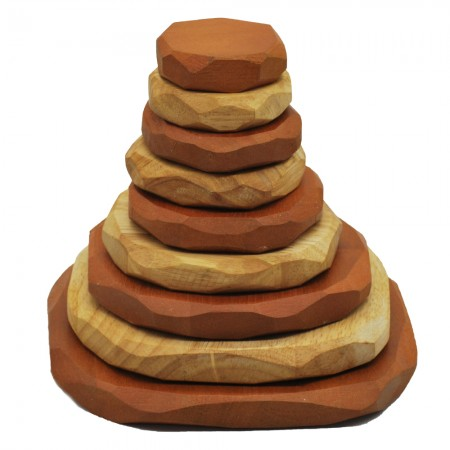 Qtoys Two Tone Wooden Stacking Stones