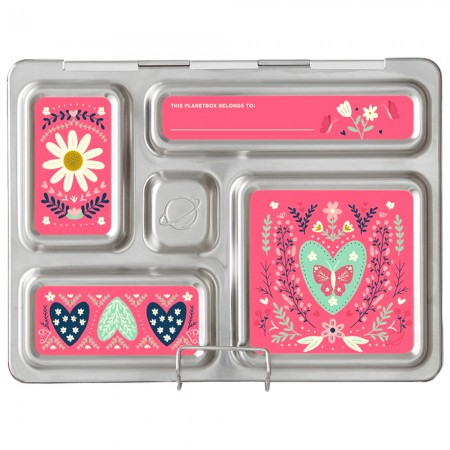 PlanetBox Rover Kit FLORAL HEART (Box, Containers, Magnets)