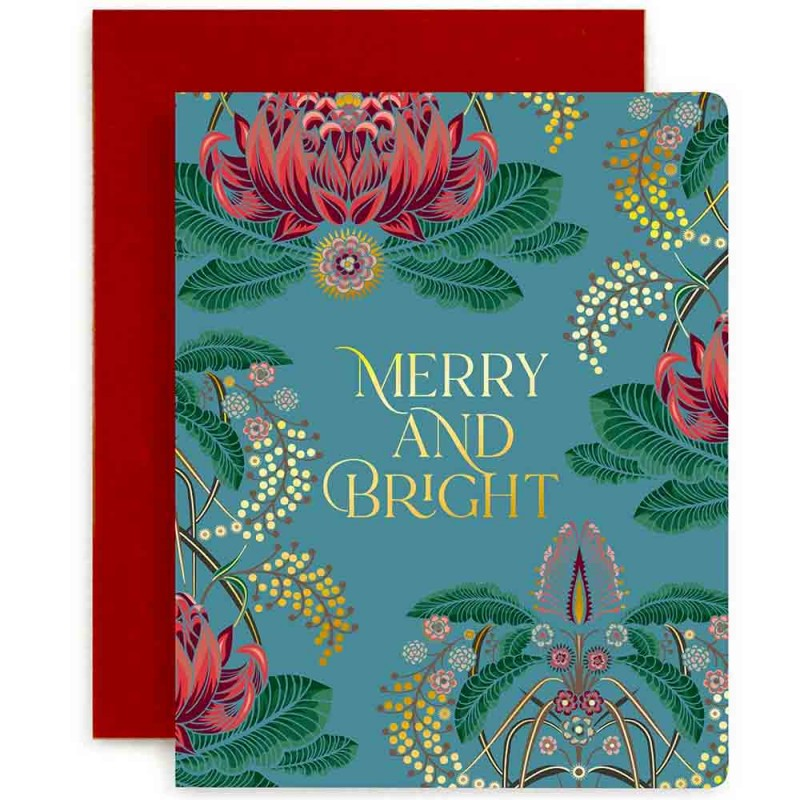 Bespoke Letterpress Foil Christmas Card - Merry and Bright