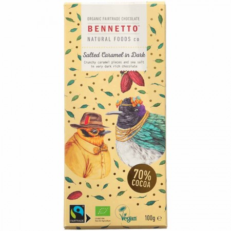 Bennetto Organic Choc Dark Chocolate 100g- Salted Caramel
