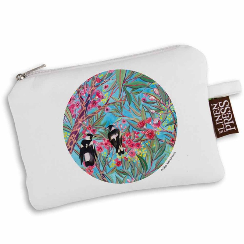 The Linen Press Ingrid Bartkowiak Organic Cotton Purse Large - Magpies In Gum (White)
