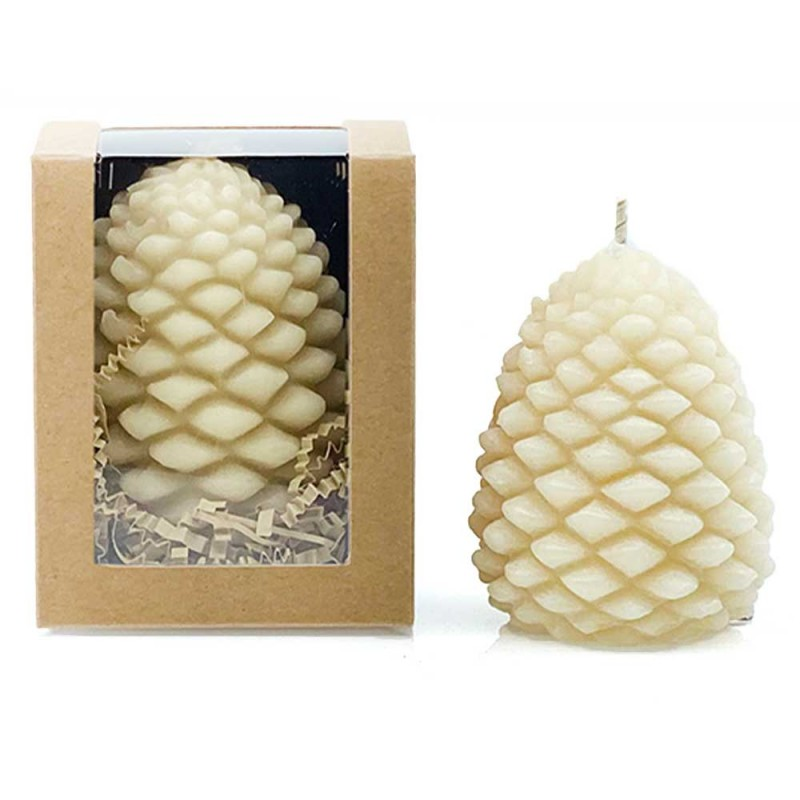 Queen B Large Pine Cone Beeswax Candle (Boxed) - 20hrs Burn Time