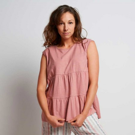 Torju Tiered Tee - Dawn Rose