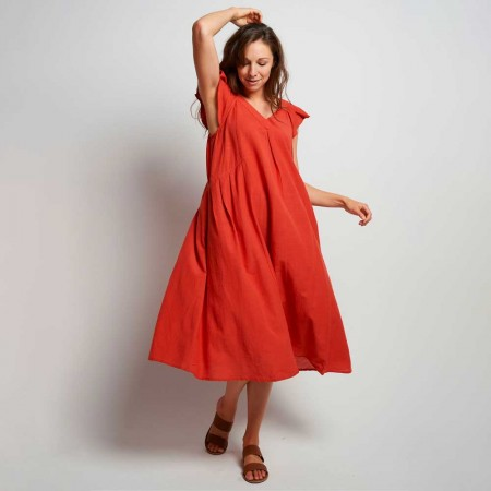 Torju V-Neck Maxi Dress - Guava