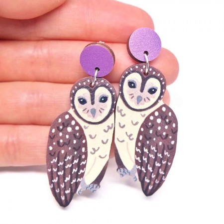 Pixie Nut and Co Sooty Owl Earrings