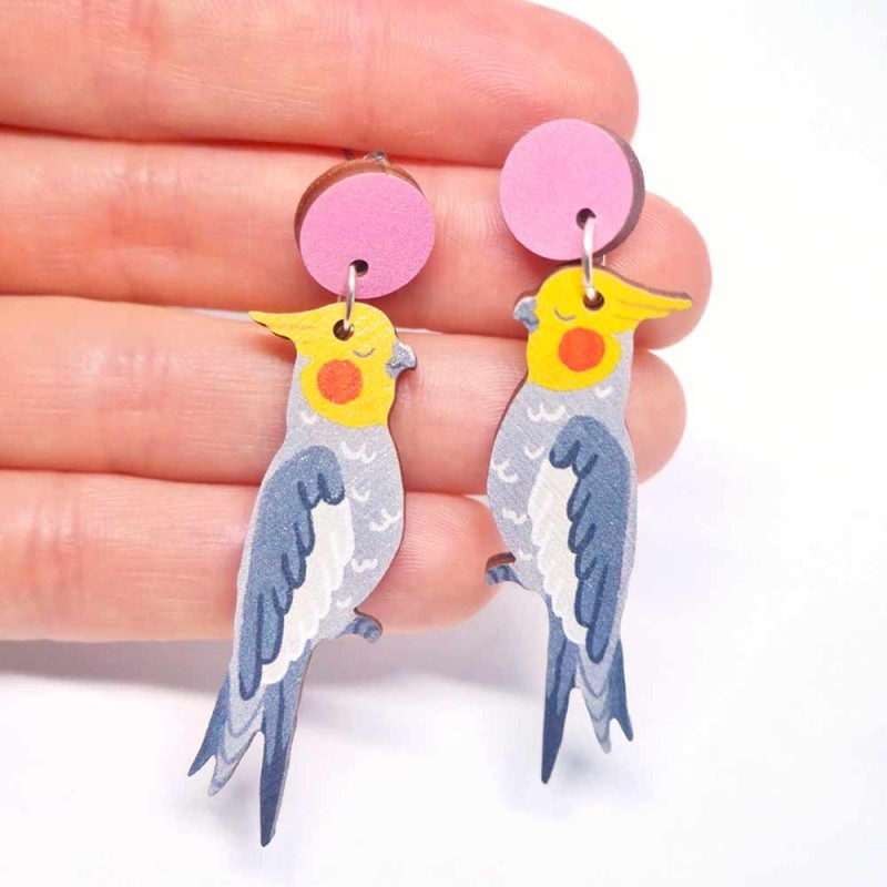 Pixie Nut and Co Cockatiel Earrings