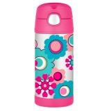 Thermos FUNtainer stainless steel bottle with straw - camo chic