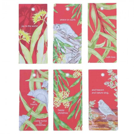 Fabriculture Christmas Gift Tags 6pk Desert Red