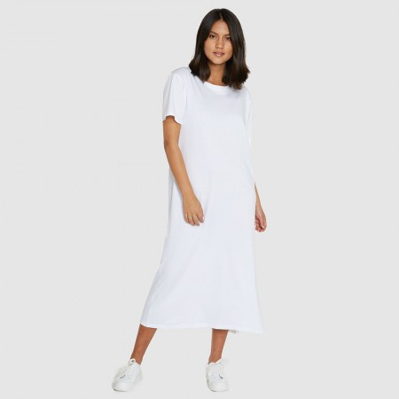 Cloth & Co. Organic Boxy T Dress - White